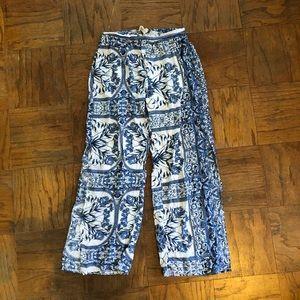 Pants - Cute Blue & White Flowy Pants